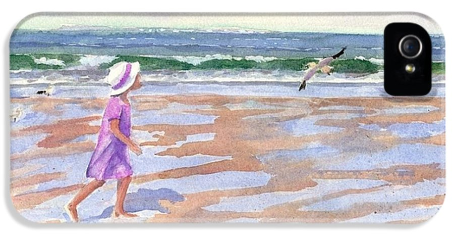 New England IPhone 5 Case featuring the painting Walking The Cape by Laura Lee Zanghetti