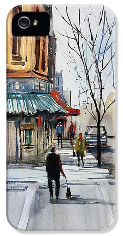 Paintings IPhone 5 Case featuring the painting Walking The Dog by Ryan Radke