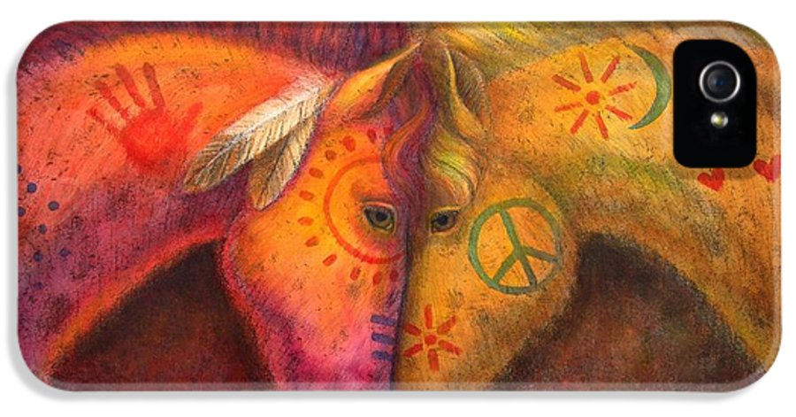 Horse IPhone 5 / 5s Case featuring the painting War Horse And Peace Horse by Sue Halstenberg