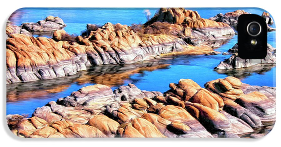 Watson Lake IPhone 5 Case featuring the painting Watson Lake At Prescott Az by Dominic Piperata