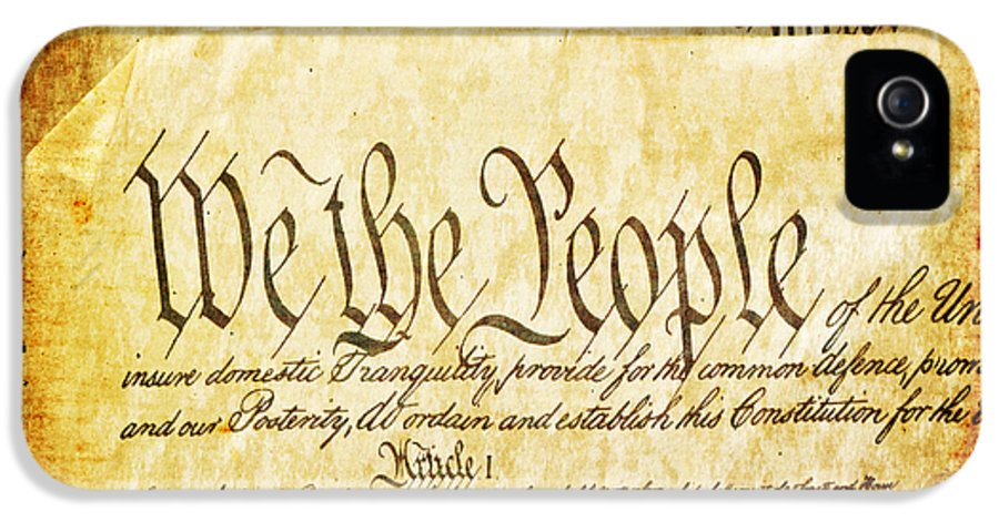 Usa IPhone 5 Case featuring the mixed media We The People by Angelina Vick