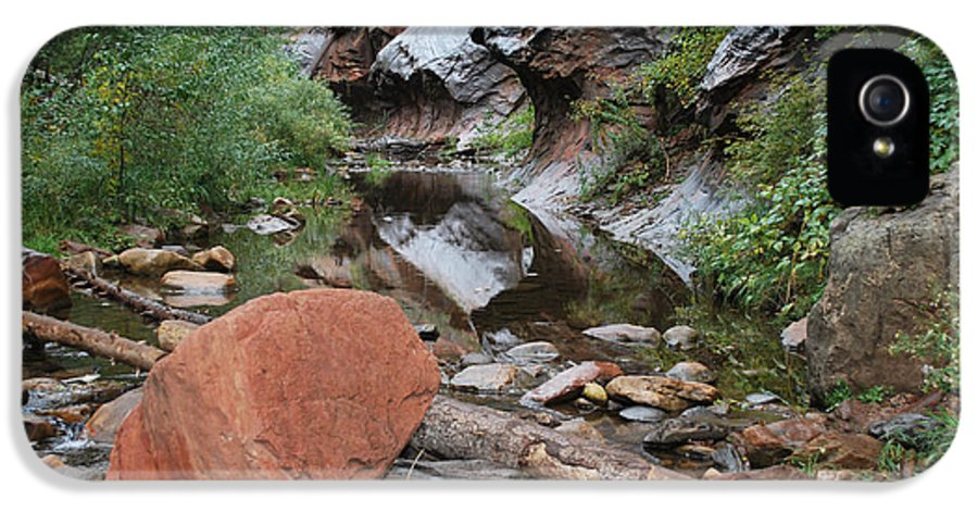 West Fork Trail River And Rock Vertical Sedona Arizona Oak Creek Canyon Wall Water Tree Bush Brush Leaf Pine Reflect Reflection IPhone 5 Case featuring the photograph West Fork Trail River And Rock Horizontal by Heather Kirk