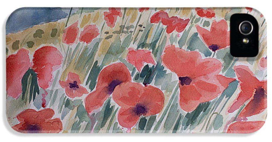 Poppy IPhone 5 Case featuring the painting Where Poppies Grow by Barbara McMahon