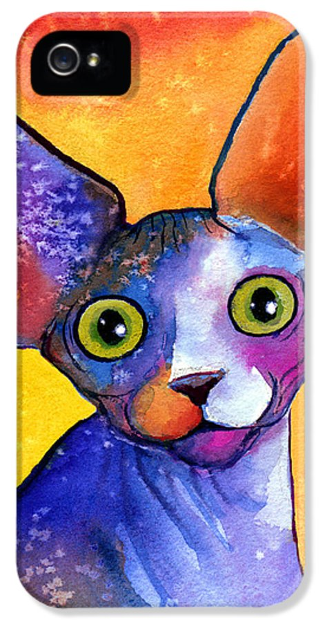 Sphynx Cat Picture IPhone 5 Case featuring the painting Whimsical Sphynx Cat Painting by Svetlana Novikova