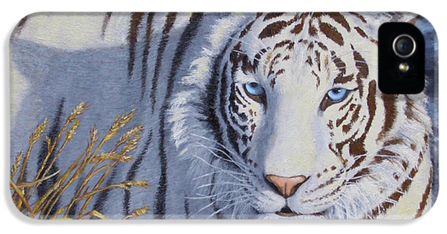 Cat IPhone 5 Case featuring the painting White Tiger - Crystal Eyes by Crista Forest