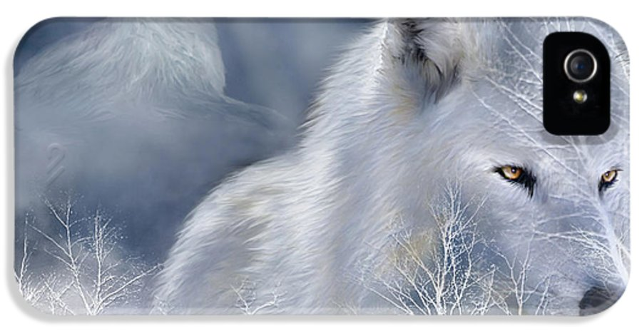 Wolf Art IPhone 5 Case featuring the mixed media White Wolf by Carol Cavalaris