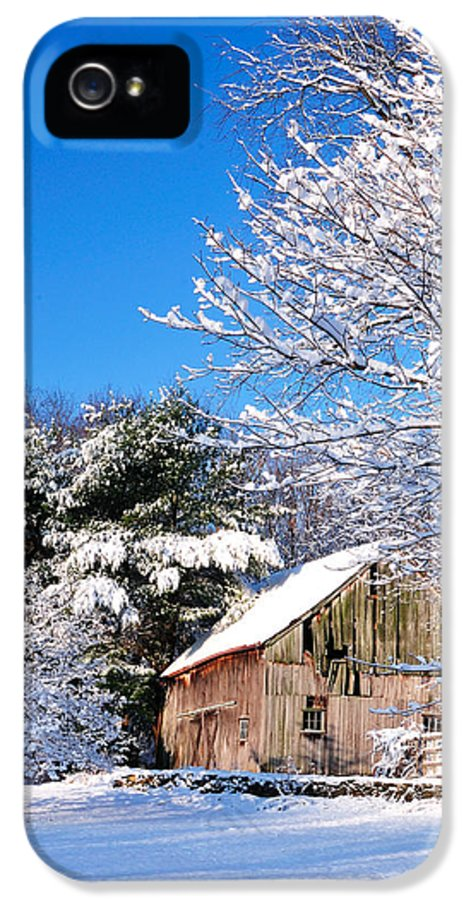 Barn IPhone 5 Case featuring the photograph Winter Barn Scene-warren Ct by Thomas Schoeller