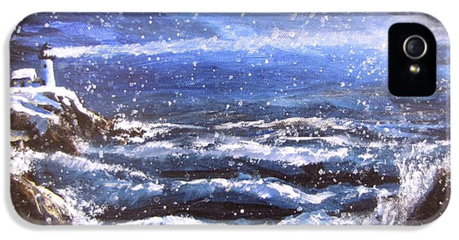 Ocean IPhone 5 Case featuring the painting Winter Coastal Storm by Jack Skinner
