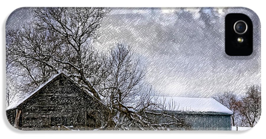 Winter IPhone 5 Case featuring the photograph Winter Farm by Steve Harrington