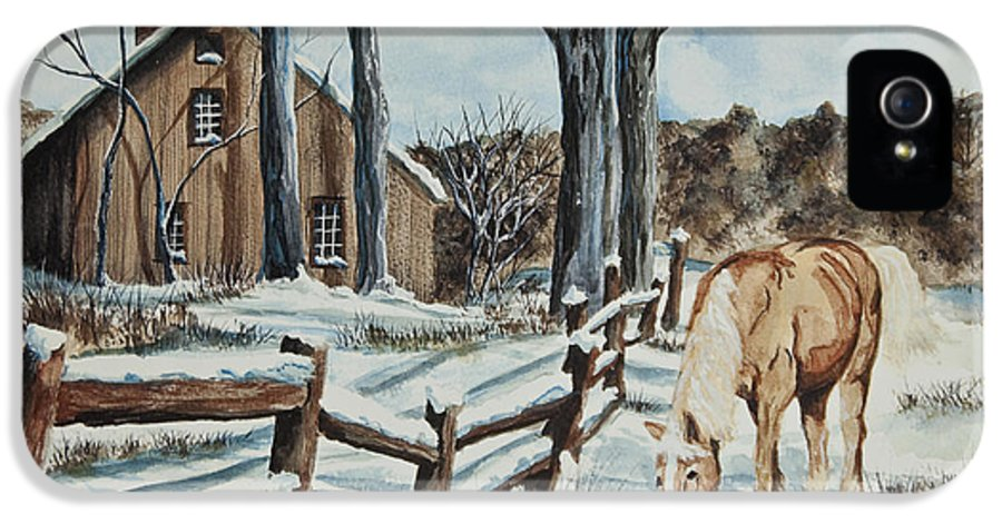 Horse IPhone 5 Case featuring the painting Winter Grazing by Charlotte Blanchard