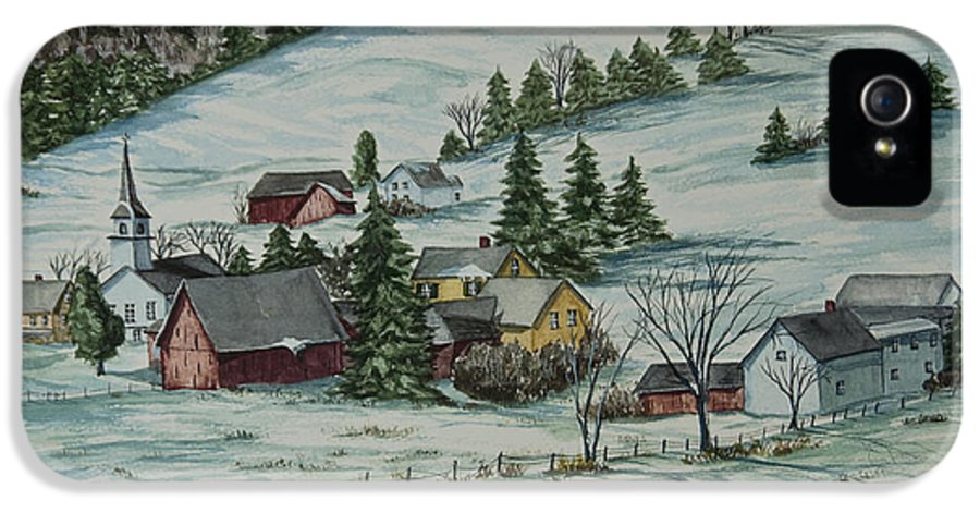 Winter Scene Paintings IPhone 5 Case featuring the painting Winter In East Chatham Vermont by Charlotte Blanchard