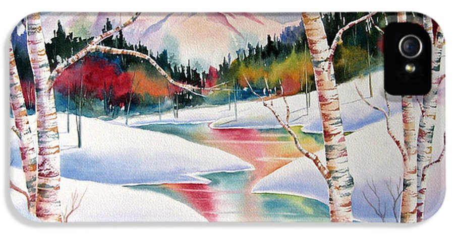 Snow IPhone 5 Case featuring the painting Winter's Light by Deborah Ronglien