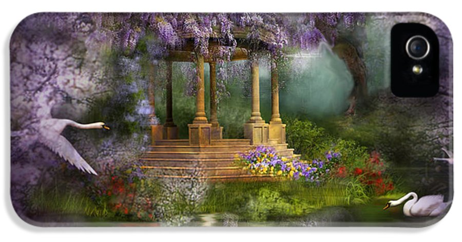 Wisteria IPhone 5 Case featuring the mixed media Wisteria Lake by Carol Cavalaris