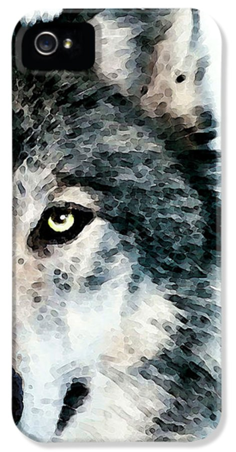 Wolf IPhone 5 Case featuring the painting Wolf Art - Timber by Sharon Cummings