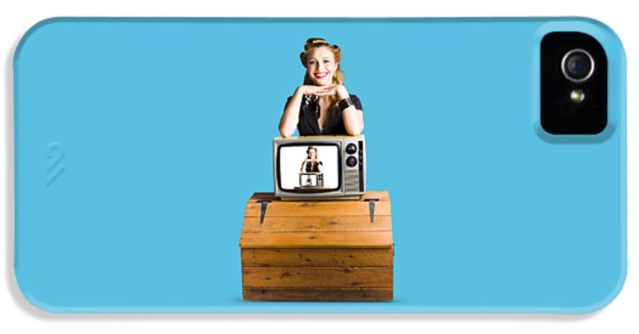1950s IPhone 5 Case featuring the photograph Woman In Front Of Tv Camera by Jorgo Photography - Wall Art Gallery