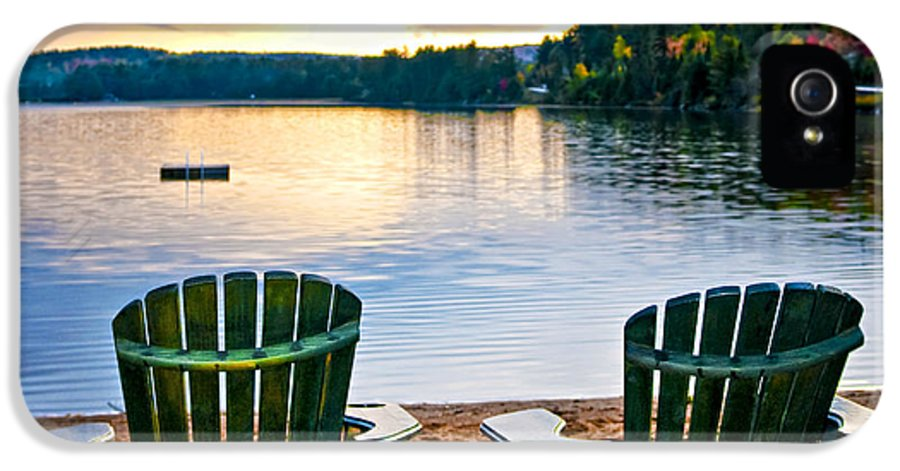 Lake IPhone 5 Case featuring the photograph Wooden Chairs At Sunset On Beach by Elena Elisseeva