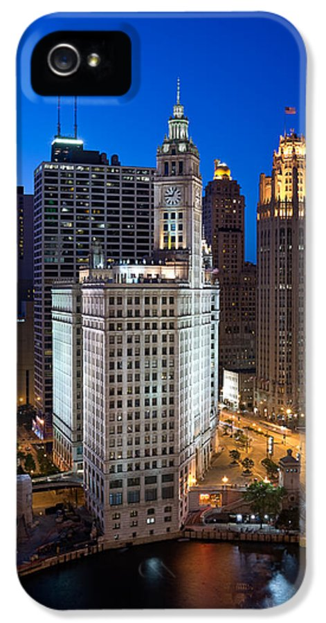 Chicago IPhone 5 Case featuring the photograph Wrigley Building Night by Steve Gadomski
