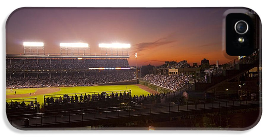 Cubs IPhone 5 Case featuring the photograph Wrigley Field At Dusk by Sven Brogren