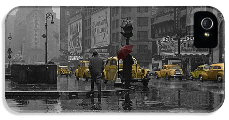 Times Square IPhone 5 Case featuring the photograph Yellow Cabs New York by Andrew Fare