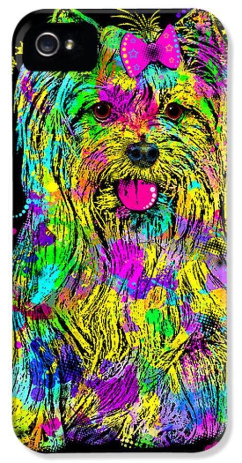yorkshire Terrier IPhone 5 Case featuring the digital art Yorkie Beauty by Zaira Dzhaubaeva