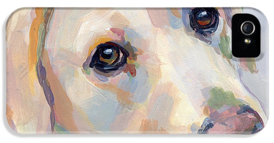 Yellow Lab IPhone 5 Case featuring the painting Young Man by Kimberly Santini
