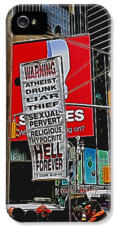 Preacher IPhone 5 Case featuring the photograph You've Been Warned by Allen Beatty