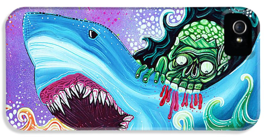 Shark IPhone 5 Case featuring the painting Zombie Handfishin by Laura Barbosa