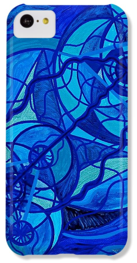 Vibration IPhone 5c Case featuring the painting Arcturian Calming Grid by Teal Eye Print Store