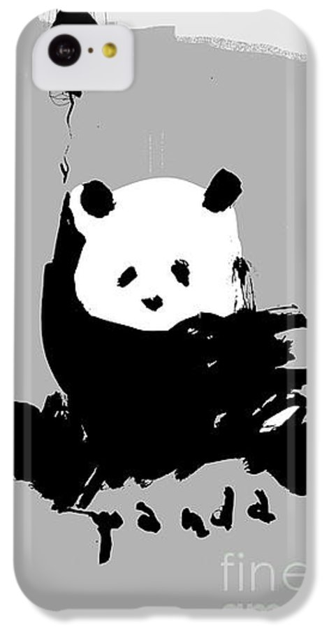 Small IPhone 5c Case featuring the digital art Symbolic Image Of A Panda On A Gray by Dmitriip