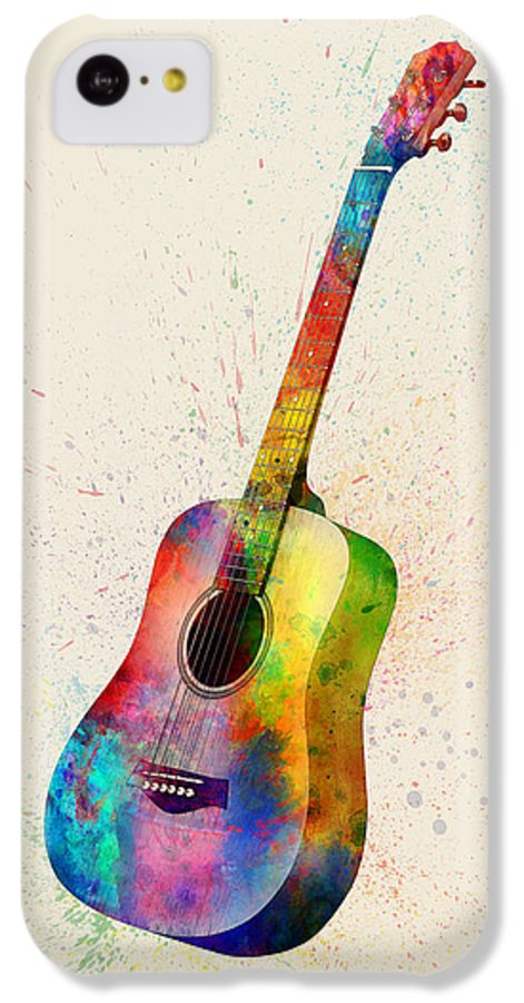 Acoustic Guitar IPhone 5c Case featuring the digital art Acoustic Guitar Abstract Watercolor by Michael Tompsett