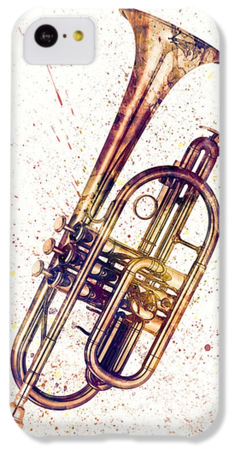 Cornet IPhone 5c Case featuring the digital art Cornet Abstract Watercolor by Michael Tompsett