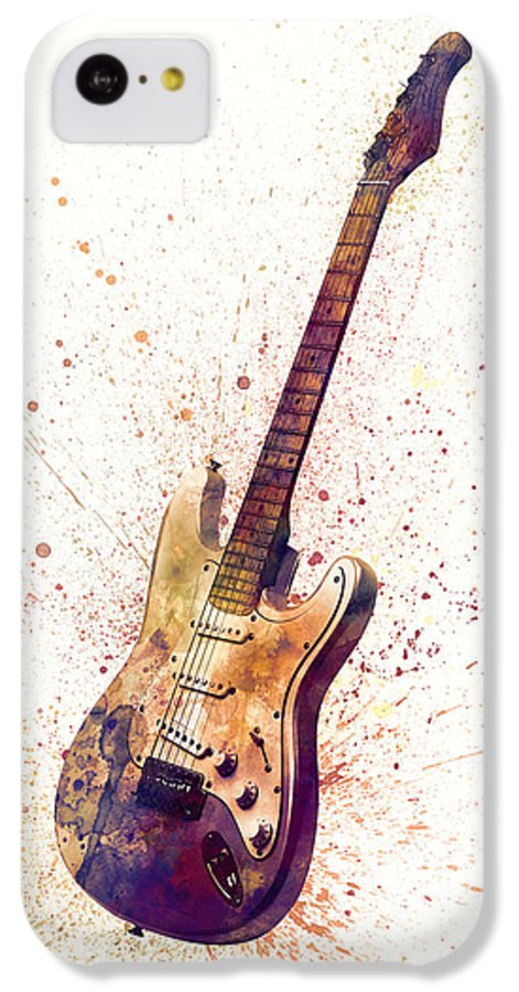 Electric Guitar IPhone 5c Case featuring the digital art Electric Guitar Abstract Watercolor by Michael Tompsett