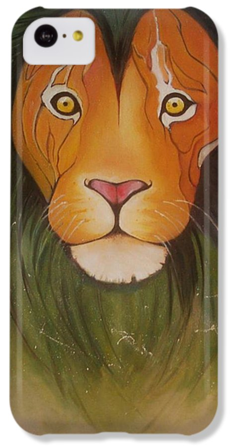 #lion #oilpainting #animal #colorful IPhone 5c Case featuring the painting LovelyLion by Anne Sue