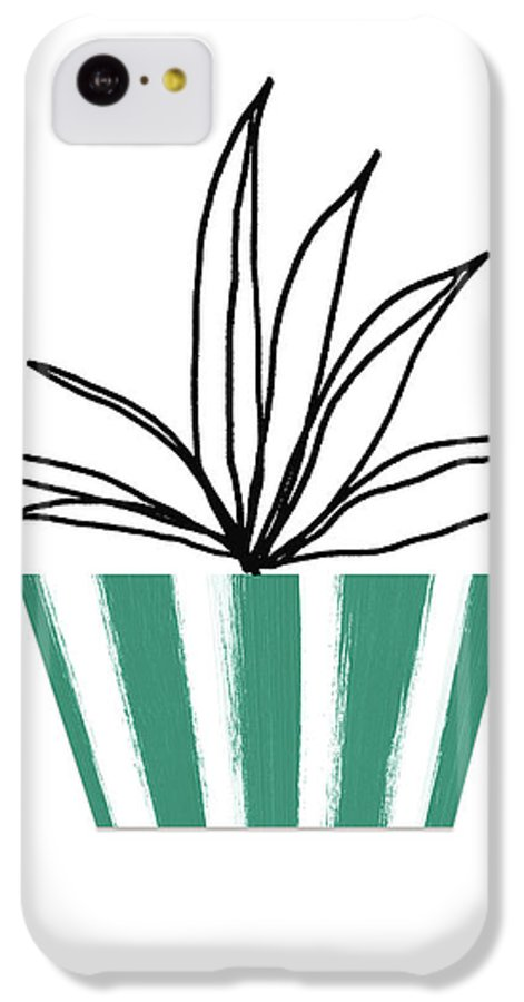 Plant IPhone 5c Case featuring the mixed media Succulent In Green Pot 3- Art By Linda Woods by Linda Woods