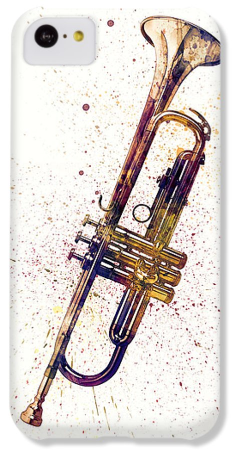 Trumpet IPhone 5c Case featuring the digital art Trumpet Abstract Watercolor by Michael Tompsett