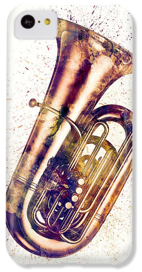 Tuba IPhone 5c Case featuring the digital art Tuba Abstract Watercolor by Michael Tompsett