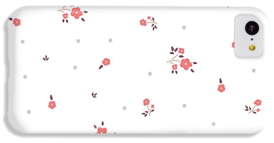 Small IPhone 5c Case featuring the digital art Delicate Floral Background. Pink, Small by Ptaha I