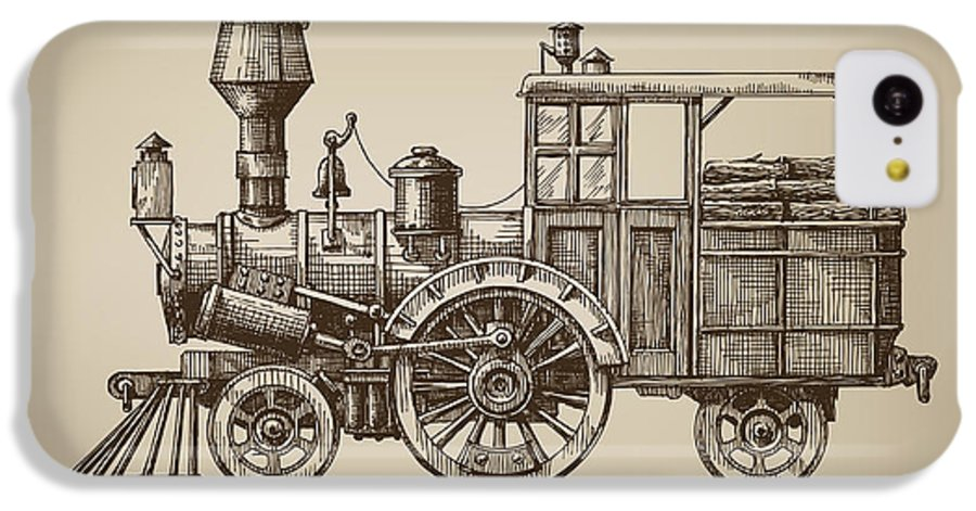 Small IPhone 5c Case featuring the digital art Locomotive. Vector Format by Ava Bitter
