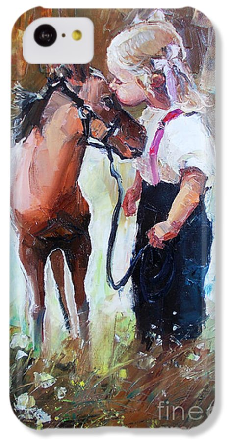 Small IPhone 5c Case featuring the digital art Oil Painting Of Little Girl Petting Her by Maria Bo