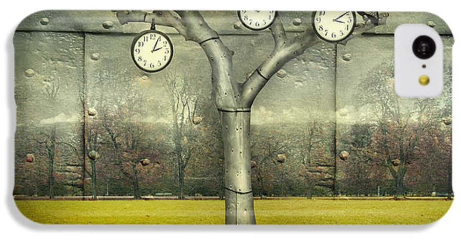 Small IPhone 5c Case featuring the digital art Surreal Illustration Of Many Clock And by Valentina Photos