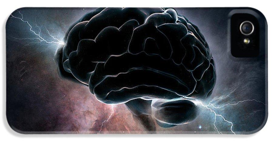 Brain IPhone 5s Case featuring the digital art Cosmic Intelligence by Johan Swanepoel