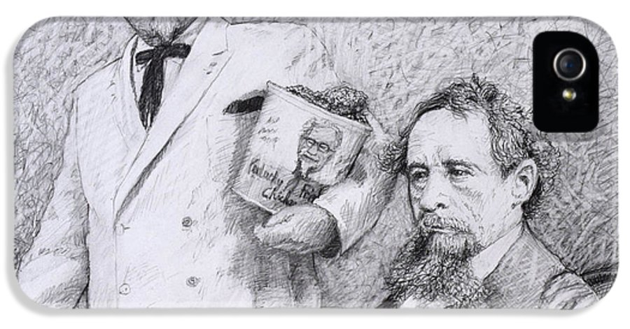 Charles Dickens IPhone 5s Case featuring the drawing Mr Chicken And Mr Dickens by James W Johnson