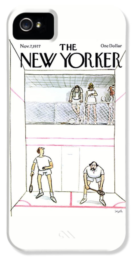 Sports IPhone 5s Case featuring the painting New Yorker November 7th, 1977 by Charles Saxon
