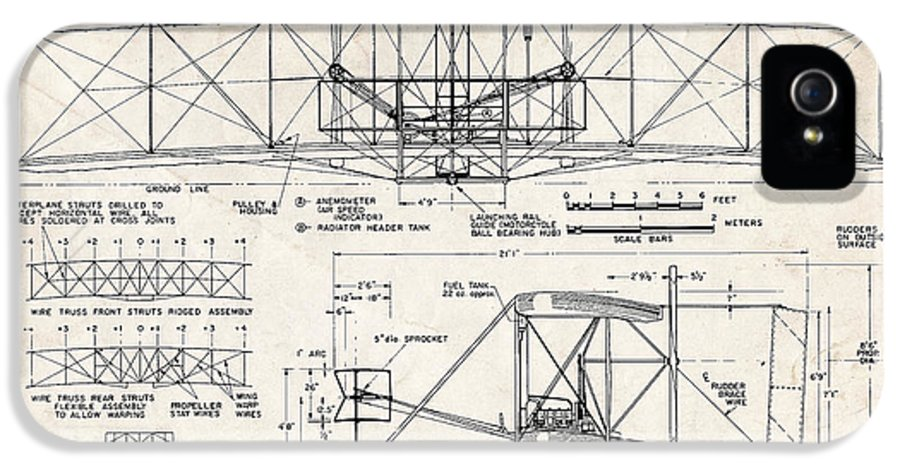diagram iphone 5s case featuring the drawing wright flyer art drawing by  stephen chambers