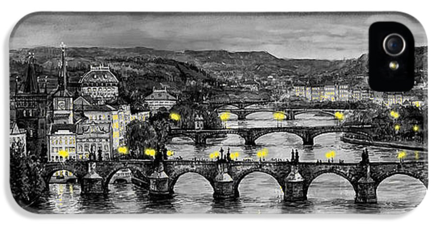 Prague IPhone 5s Case featuring the painting Bw Prague Bridges by Yuriy Shevchuk