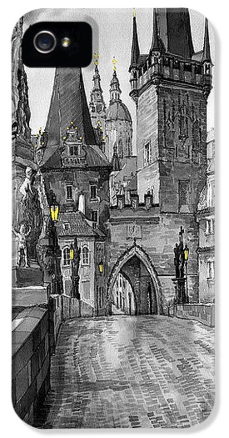 Prague IPhone 5s Case featuring the painting Bw Prague Charles Bridge 02 by Yuriy Shevchuk