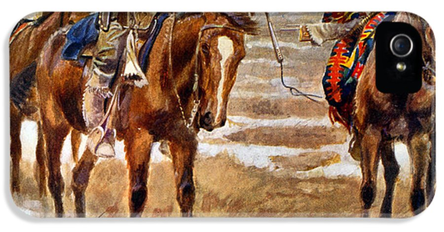 Shaking Hands IPhone 5s Case featuring the painting Men Shaking Hands On Horseback by Charles Marion Russell