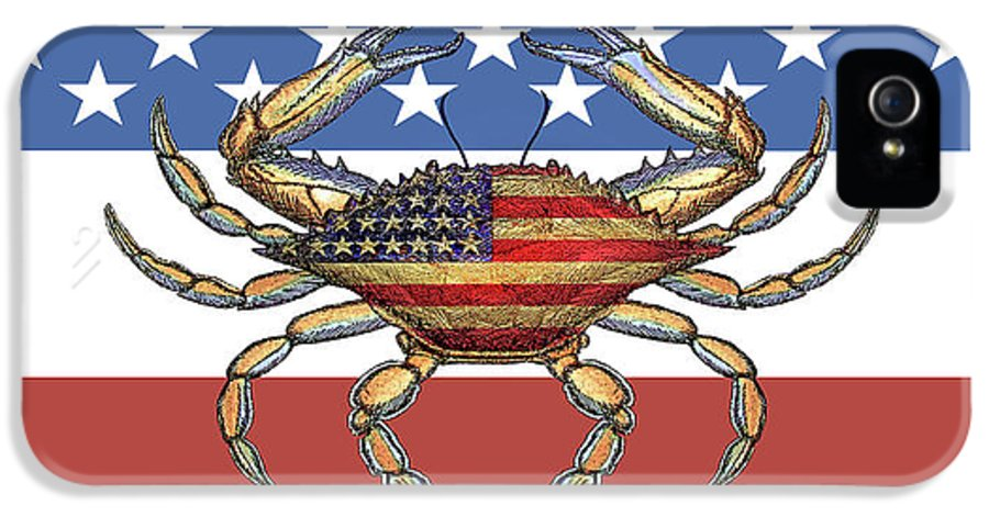 Charles Harden IPhone 5s Case featuring the photograph Patriotic Crab On American Flag by Charles Harden