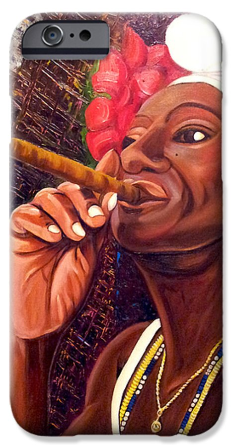 Cuban Art IPhone 6 Case featuring the painting  Cigar Lady by Jose Manuel Abraham