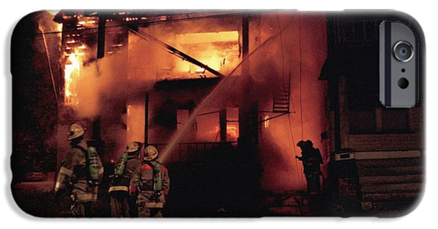 Fire IPhone 6 Case featuring the photograph 071506-4 Cleveland Firefighters On The Job by Mike Davis